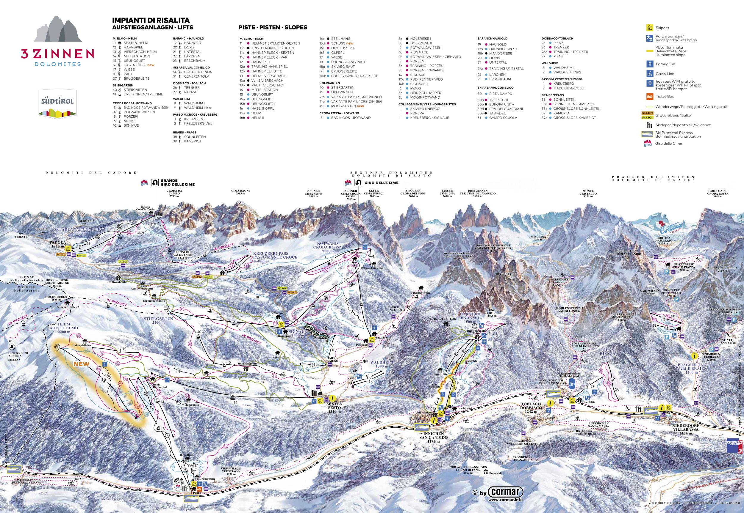 Tre Cime ski mapa