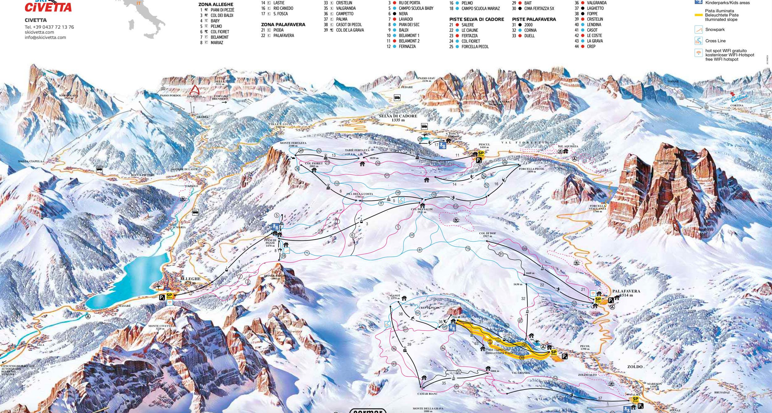 Civetta ski mapa
