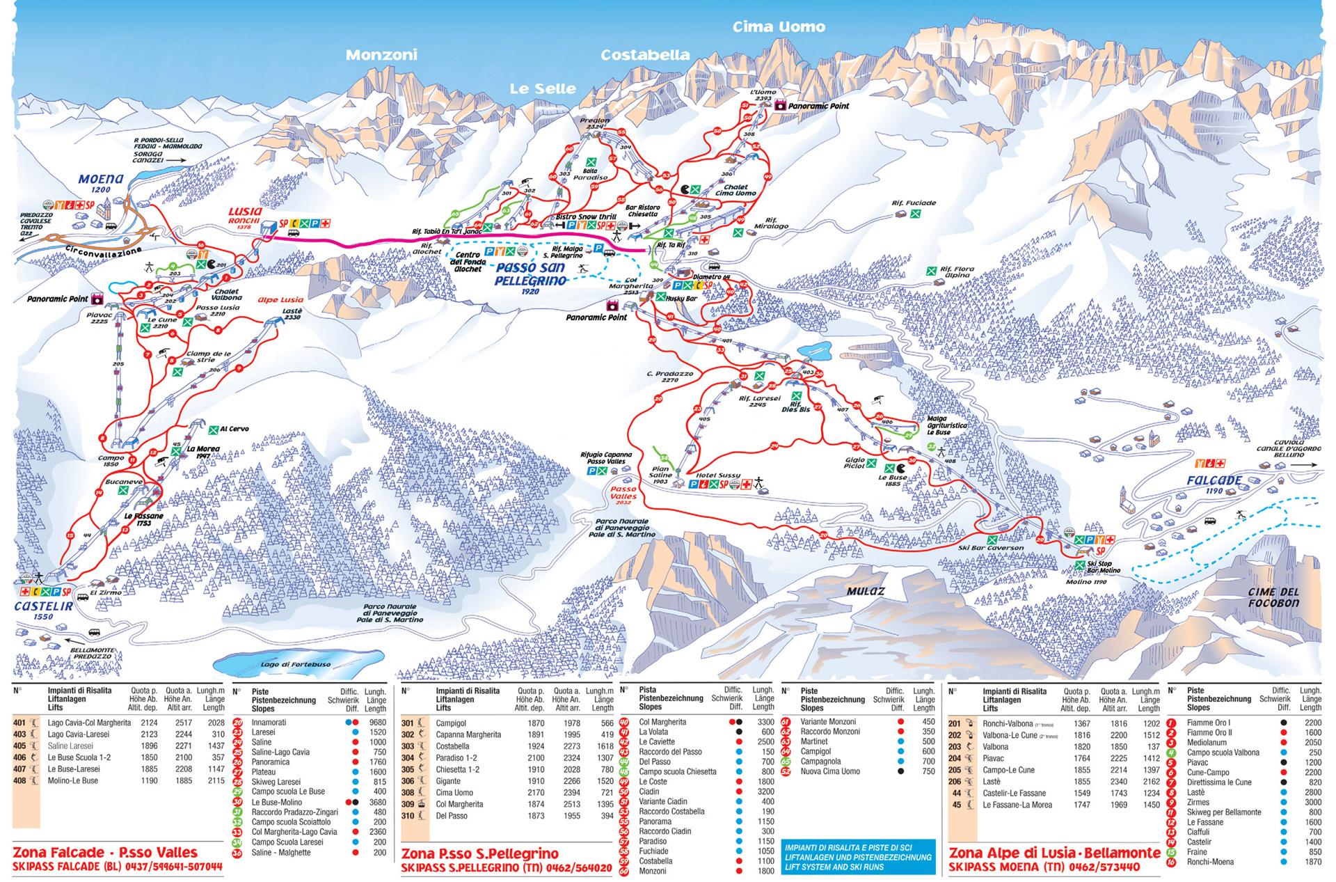 Falcade San Pellegrino ski mapa