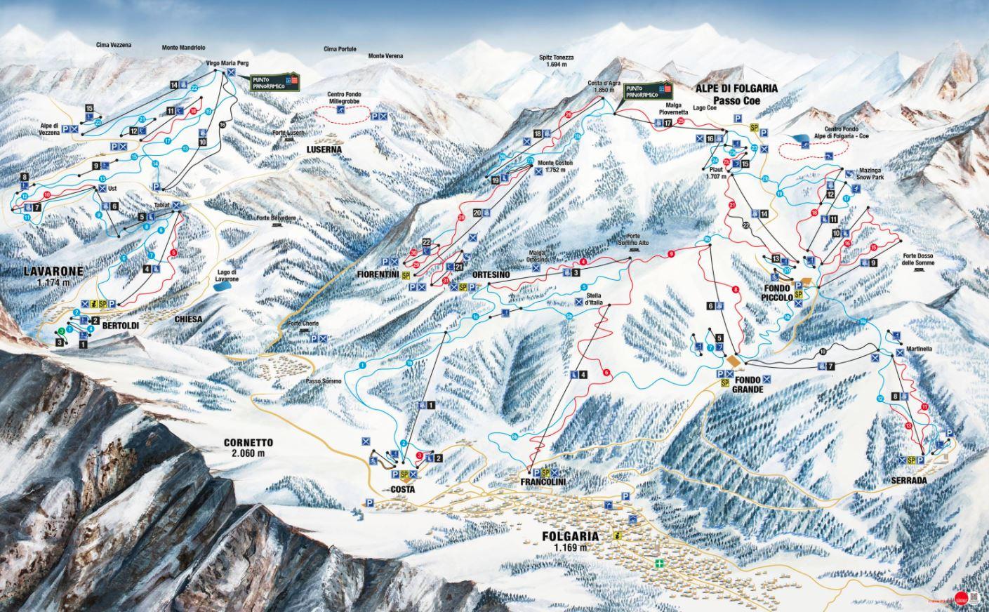 Folgaria ski mapa
