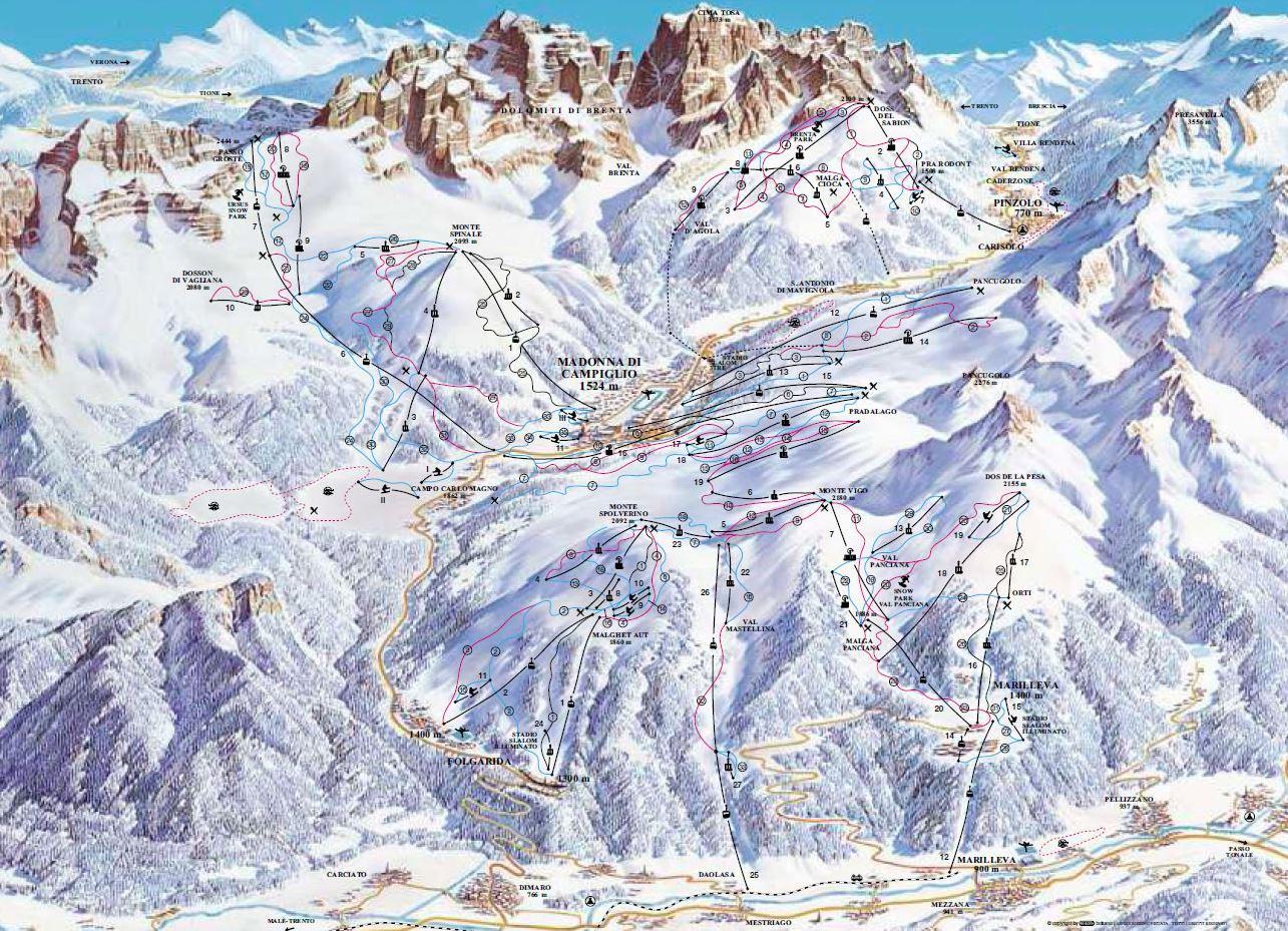 Marilleva a Folgarida ski mapa