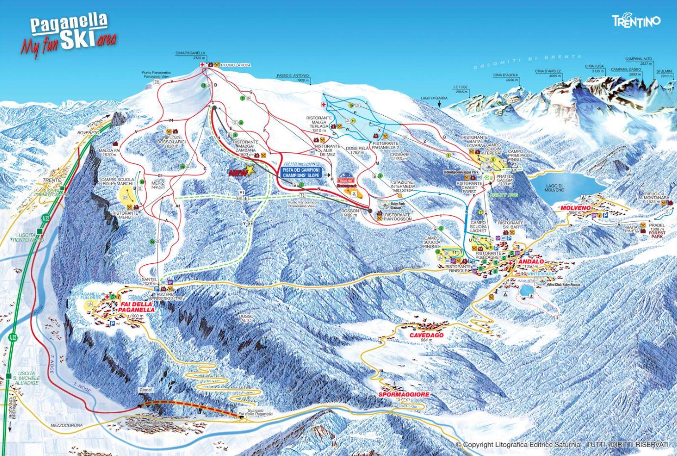 Paganella ski mapa