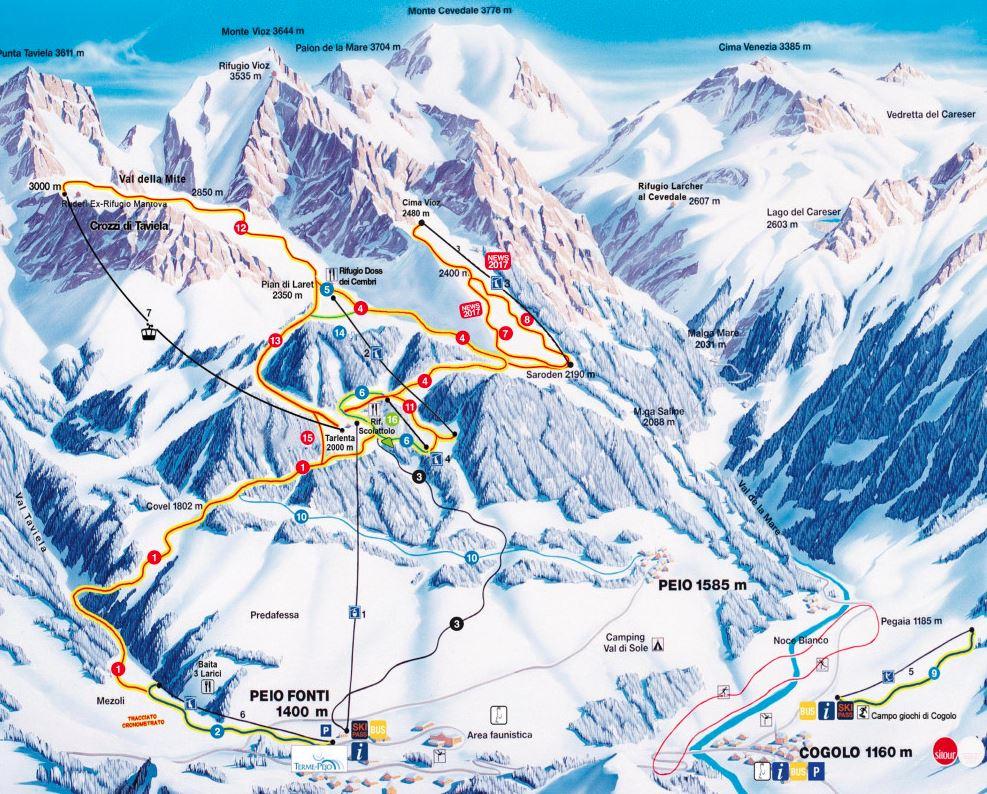 Pejo 3000 ski mapa