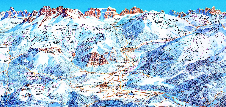 Val di Fiemme ski mapa