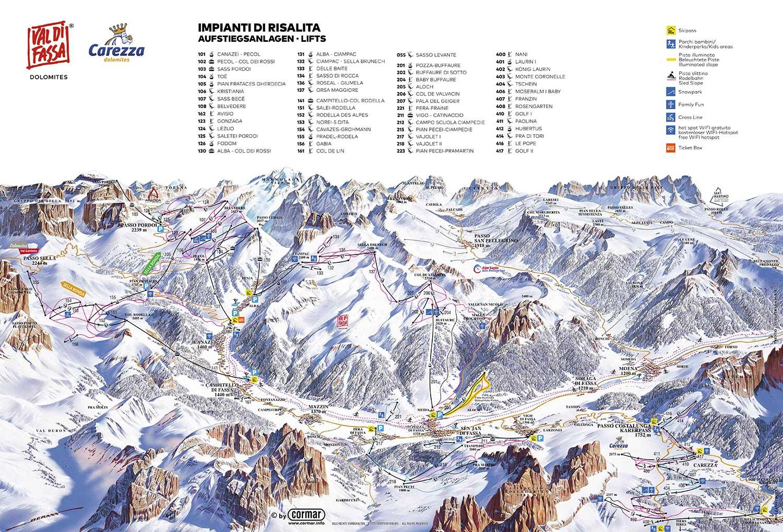 Val di Fassa ski mapa